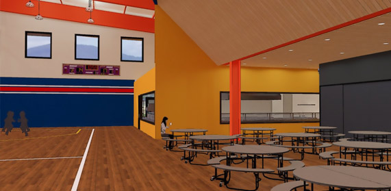 New commons are will allow consolidated seating for meals during and after school hours